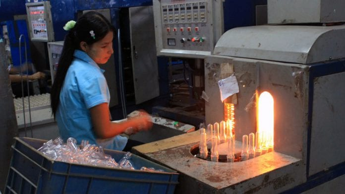 Electricity, Myanmar SME plastic bottle making