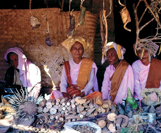 Indigenous medical practitioners selling traditional medicine at the golden rock pagoda Kyaiktyio Myanmar Burma