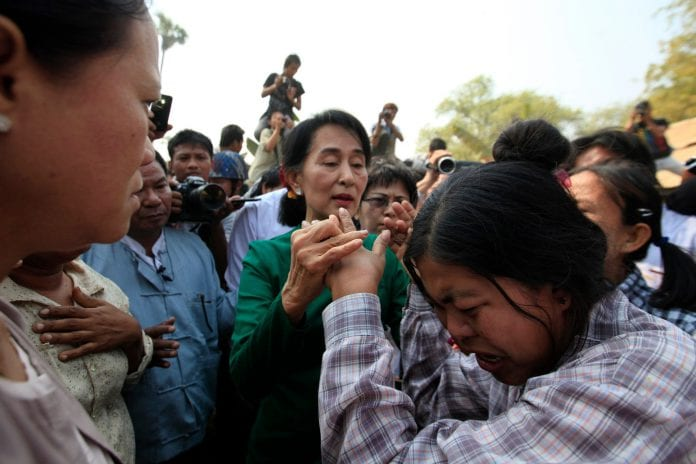Myanmar letpadaung copper mine protest anti chinese investment Suu Kyi