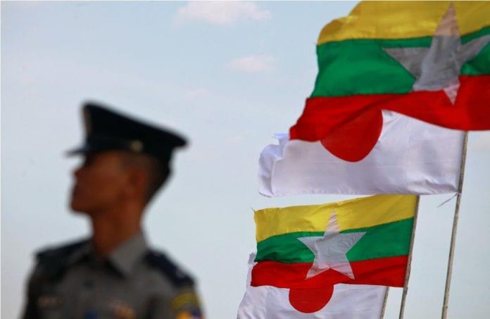 Thilawa japan myanmar flag