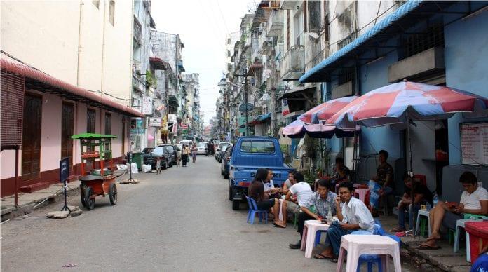 Downtown Yangon beer station life economy Myanmar tea people