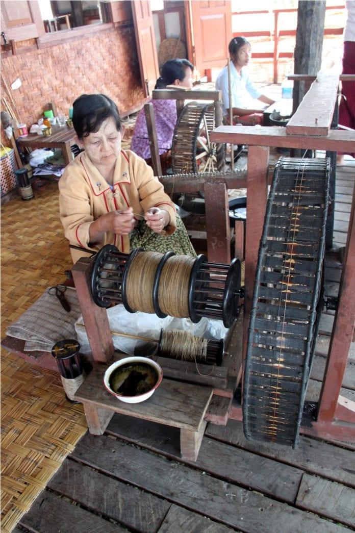 Myanmar silk lotus weaving SME