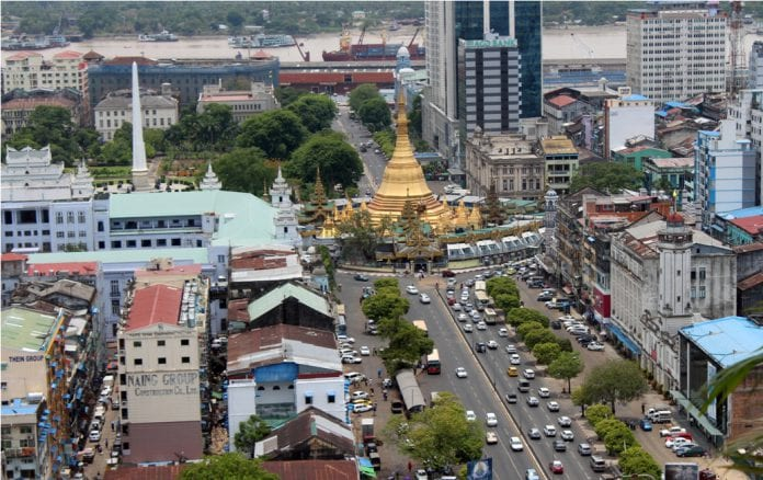 Yangon sule traffic skyline property real estate river