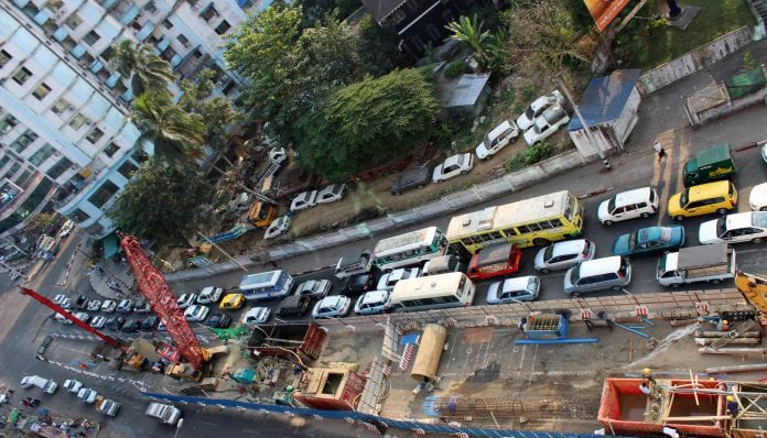 Yangon traffic construction roads cars