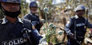 police myanmar poppy heroin drugs