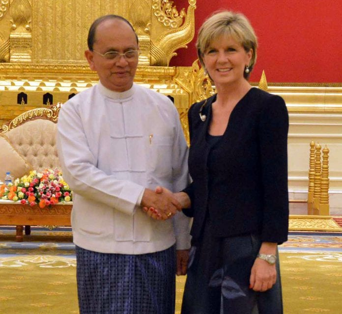 Julie Bishop Thein Sein Myanmar Australia Nay Pyi Taw MBT