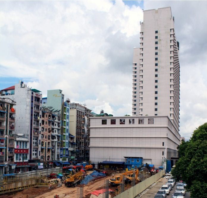 Highrise construction real estate property yangon traffic economy