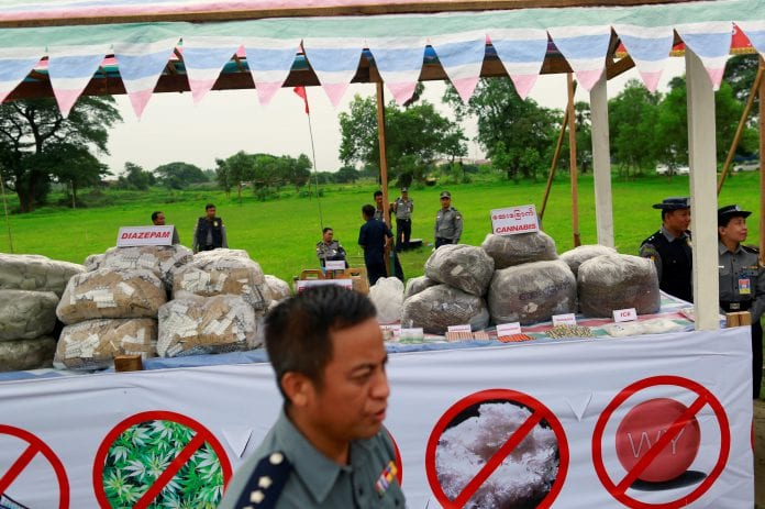 myanmar drug heroin poppy illegal seizure burn