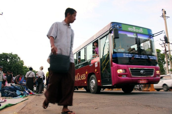 Yangon bus traffic mahtatha