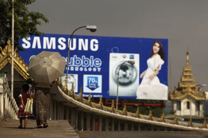 myanmar yangon economy investment growth samsung bloom