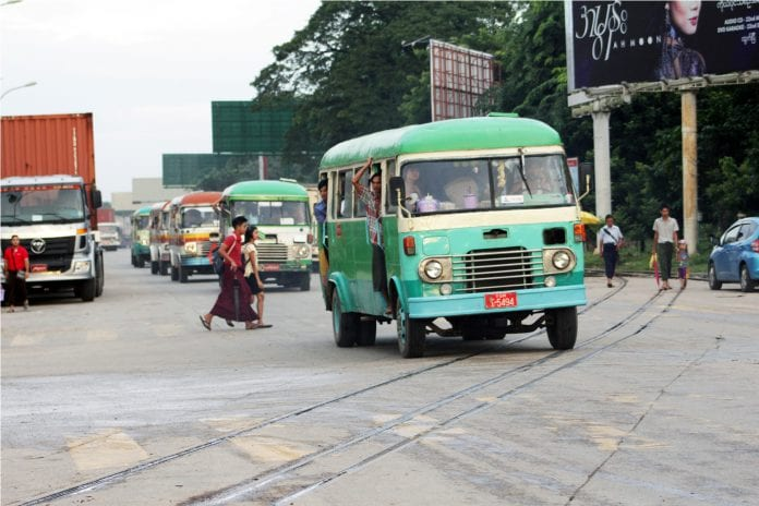yangon bus public transport road traffic economy - Copy