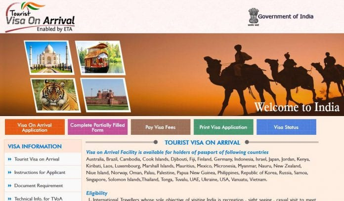 india tourist visa on arrival