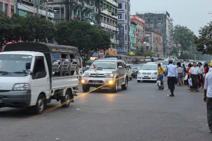 car traffic auto yangon bus mini van