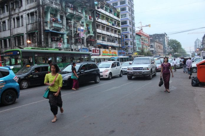 car traffic downtown yangon