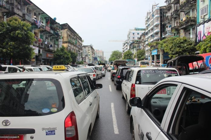 cars traffic yangon