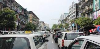 cars traffic yangon
