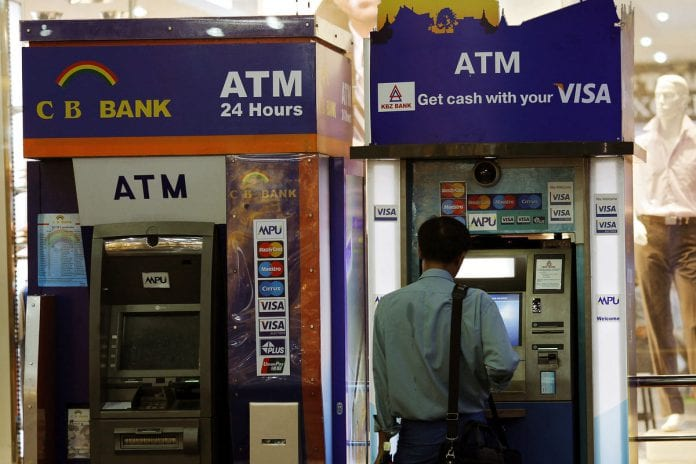 myanmar visa atm kbz cb money card mpu bloom