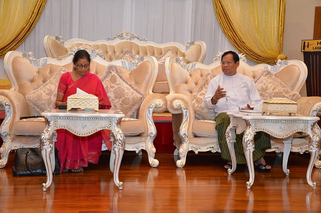 Minister for Commerce & Industry Ms Nirmala Sitharam paying a call on Minister for Commerce U Win Myint (NayPyiTaw, 17 Feb 2015)