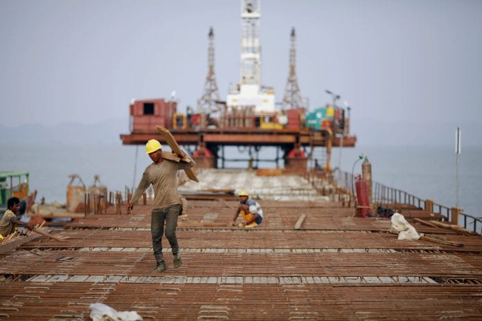 Myanmar growth development economy SEZ Essar Kyaukphyu construction port labour