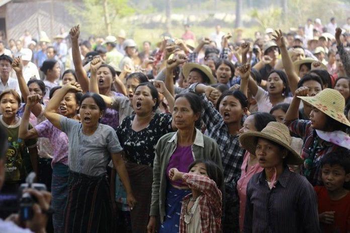 myanmar letpadaung sarlingyi monywa copper mine mining protest