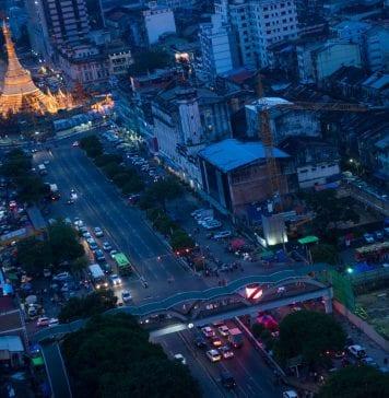 myanmar yangon sule skyline property economy traffic investment growth bloom
