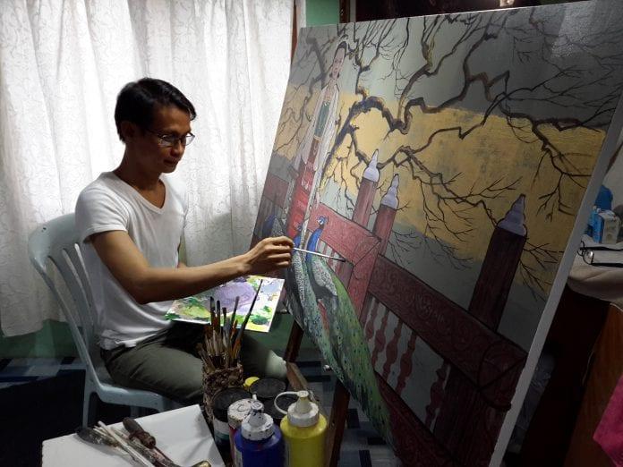 Zay Yar Aye in his studio