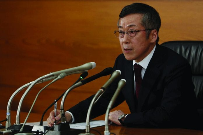 Newly-appointed Bank of Japan (BOJ) board member Yutaka Harada speaks during a news conference at the BOJ headquarters in Tokyo March 26, 2015.