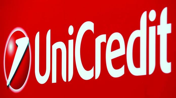 Unicredit bank logo is seen on a banner downtown Milan, Italy, May 23, 2016.